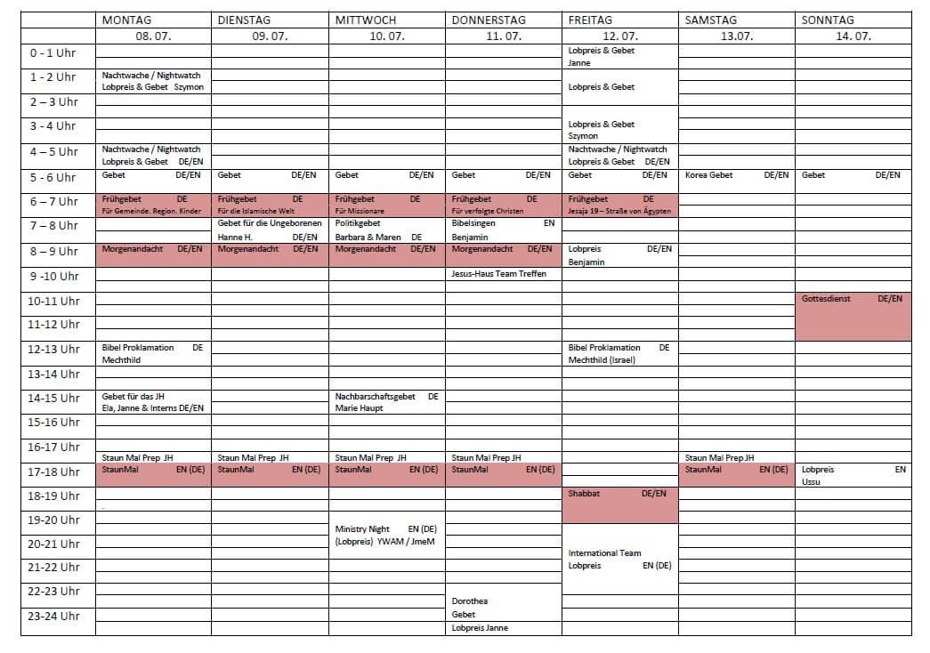 Schedule 08. 07. - 14. 07.2019
