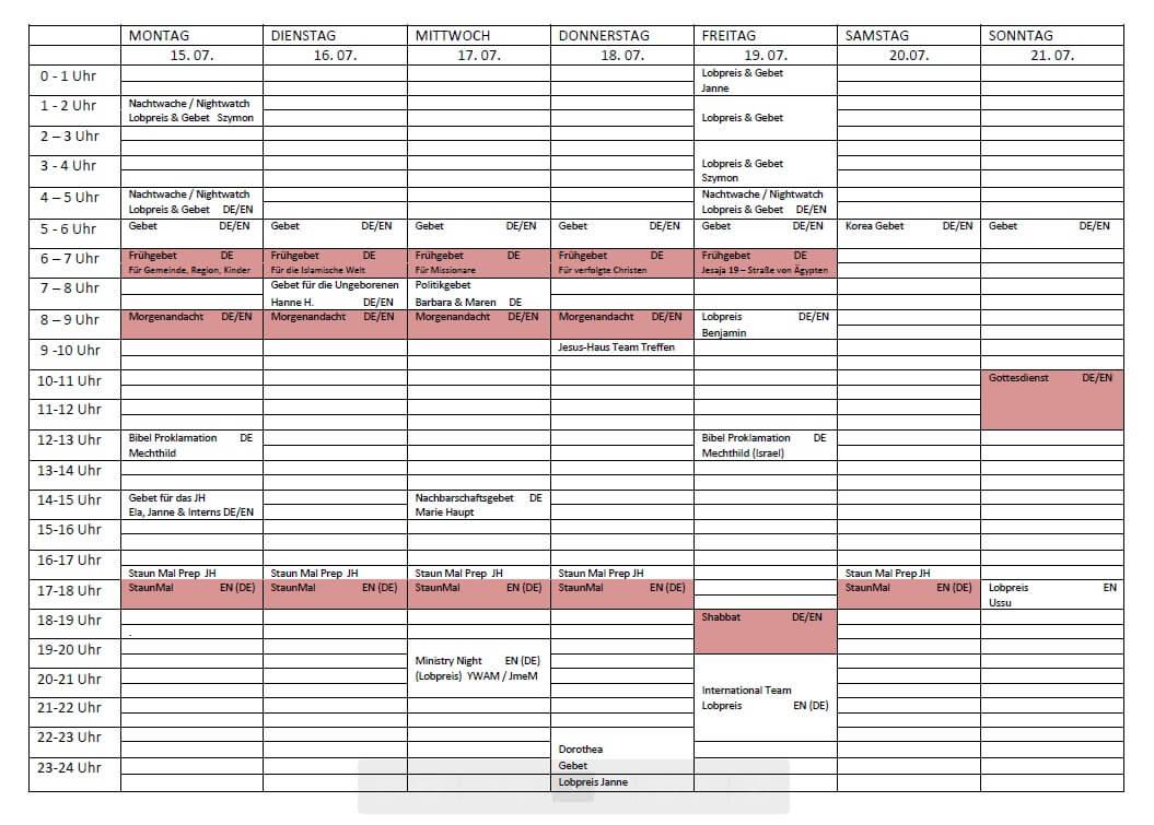 Schedule 15. 07. - 21. 07.2019