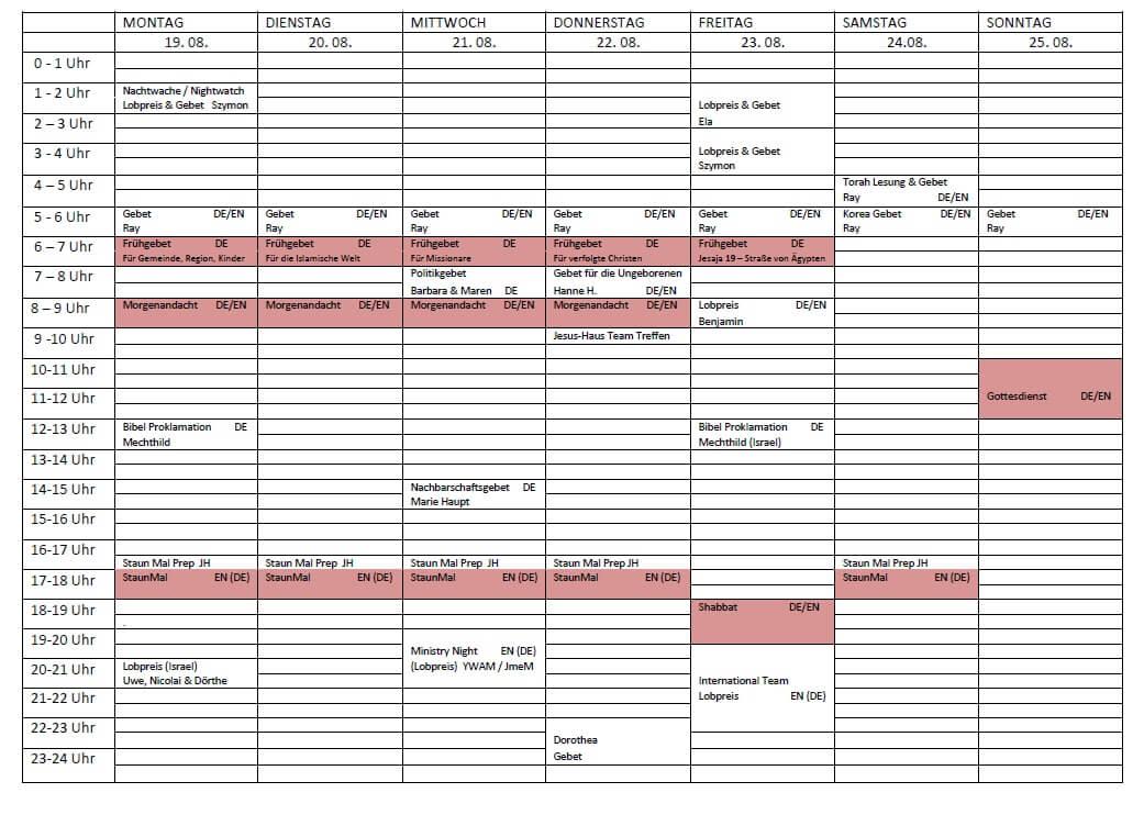 Schedule 19. 08. - 25. 08.2019