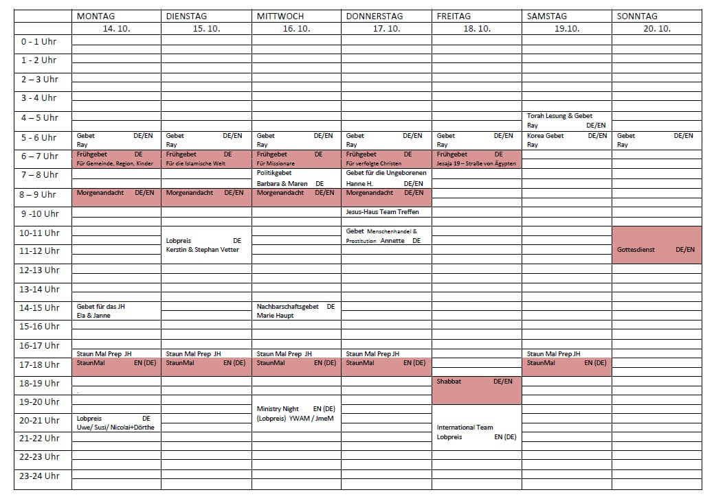 Schedule 14.10.-20.10.