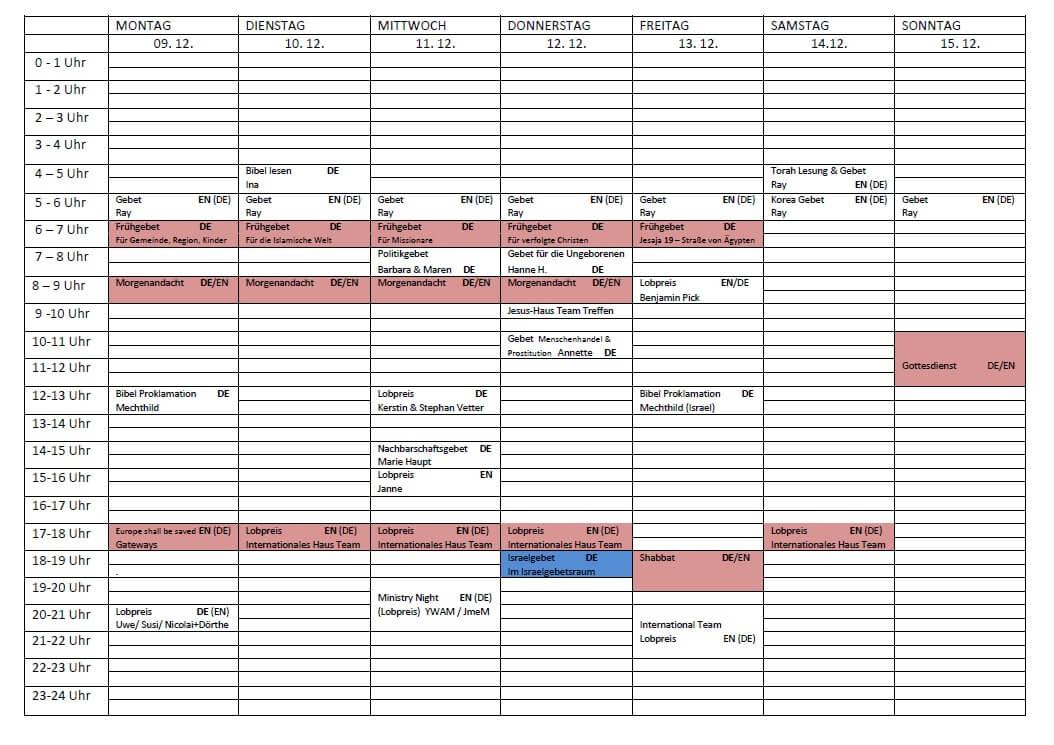 Schedule 09.12. - 15.12.2019