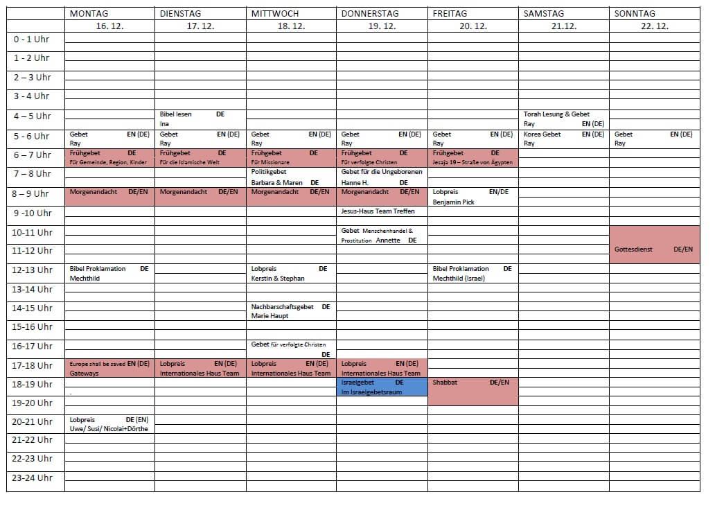 Schedule 16.12.-22.12-2019