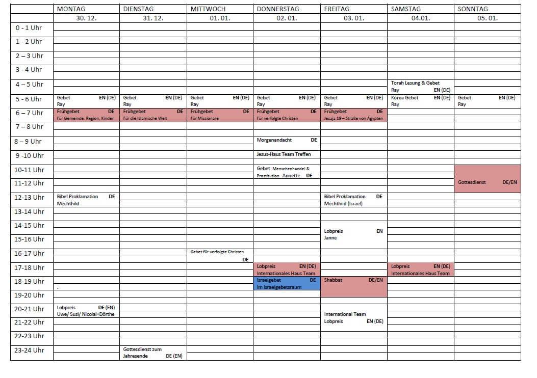 Schedule 30.12.-05.01.2020