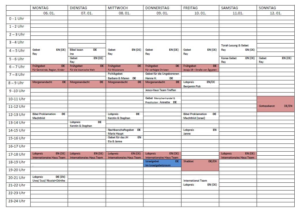 Schedule 06.-12.01.2020