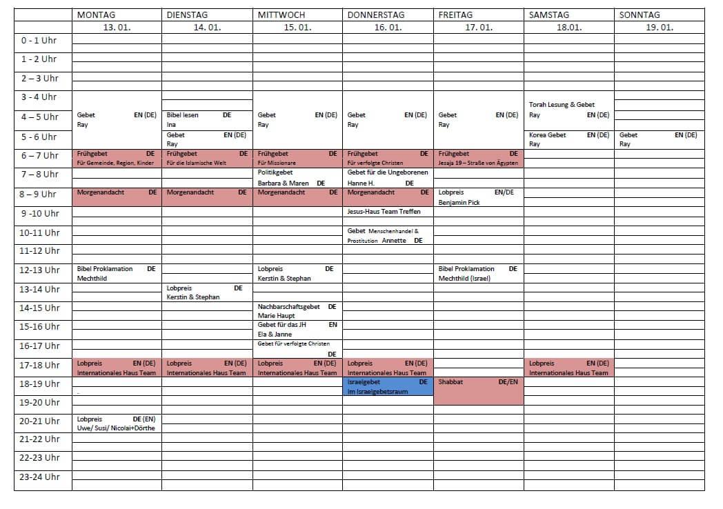 Schedule 13.01. - 19.01.2020