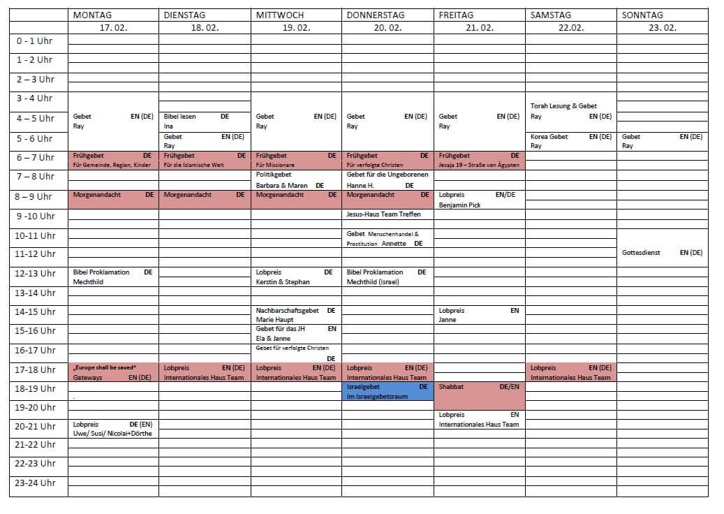 Schedule 17.02. - 23.02.2020