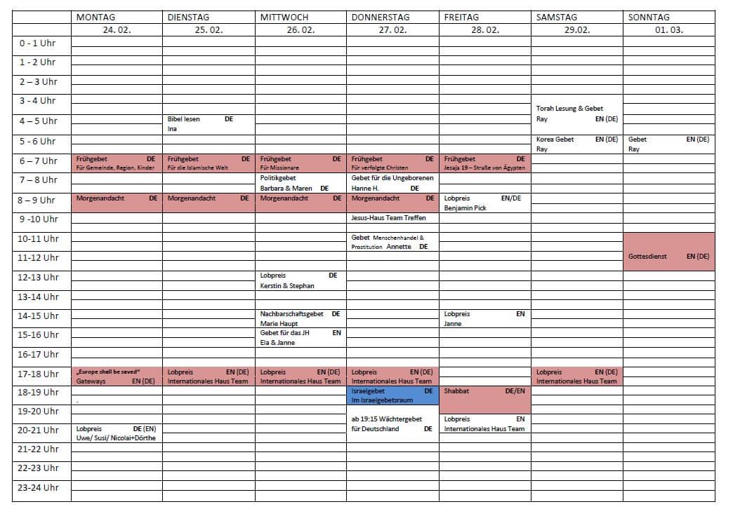 Schedule 24.02. - 01.03.2020